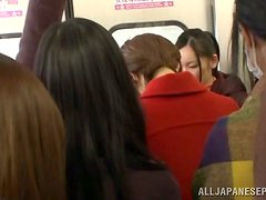 Naughty Japanese girl gets fucked in crowded subway train