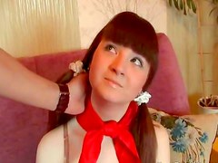 Adorable pigtailed teen laid