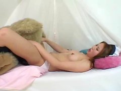 Japanese girl humping teddy bear and toys