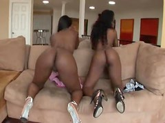 Hot black chicks dance and rub naked