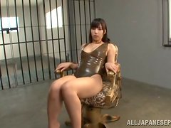 A sexy Japanese lady in latex has her vijayjay vibrated