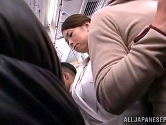 Honey gets naked completely in the public bus
