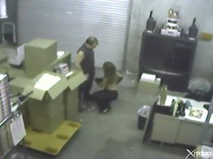 Blowjob in the warehouse caught on security camera