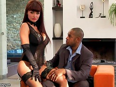 Sizzling and busty goddess Alette gets in an interracial