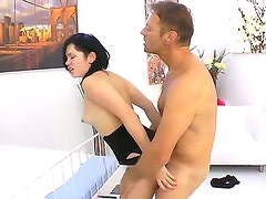 Hot guy Rocco Siffredi is nicely drilling the small ass of the gorgeous asian babe
