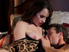 Classy brunette woman with big ass gets doggyfucked by her boy
