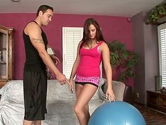 Mind taking brunette chic seduces coach with seductive lingerie