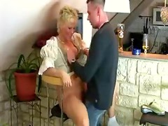 Blonde mature amateur stroke and fuck
