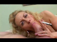 Mature smokes and gobbles a thick dick