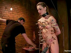 Sexy Bailey Blue gets toyed and clothespinned