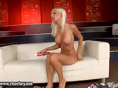 Arousing blonde beauty with tight ass big fake balloons teases