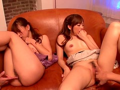 Beautiful Japanese group sex with petite babes