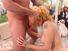 Wife with big boobs has anal sex from behind