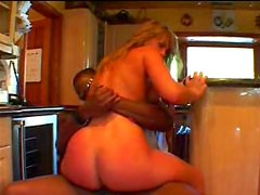 Interracial BJ with cumshot on her tongue