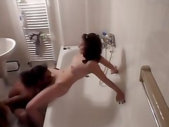 Amateur couple having a great time in the bathroom