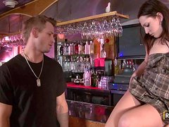 Adorable Bailey Blue has an amazing sex at the bar