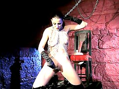 So horny and amazingly hot brunette babe Tera Bond is staying naked and getting chained
