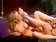 Lesbians with a foot fetish fool around sensually