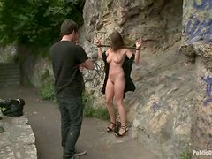 Nice Mona Lee shows her nude body in downtown and gets fucked