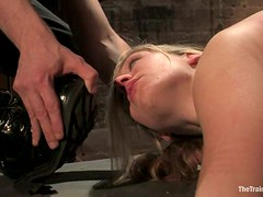 Two hot girls in stockings and high heels get punished