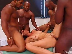 Interracial gangbang ends with cumshots on her face