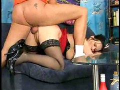 Pregnant brunette rides a cock wildly