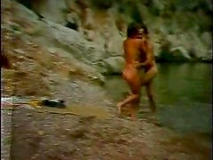 Retro fuck film on beach and in water