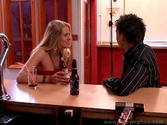 Sexy threesome with blondes in a bar