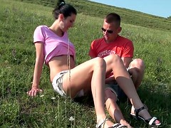 Spoiled Russian bitch Yasmine gives a head in public