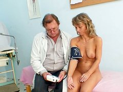 Slack Czech granny Vladimira gets her small tits mauled with pressure