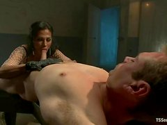 Sexy brunette tranny fucks a guy in his ass on a bed