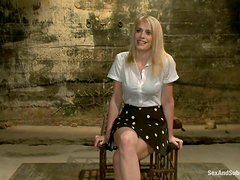 Bonded and gagged blonde babe gets pounded and toyed