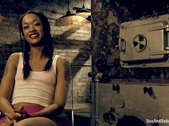 Petite Skin Diamond gets tied up and pounded rough