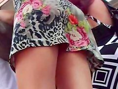 Hot outdoor upskirt with pretty babe