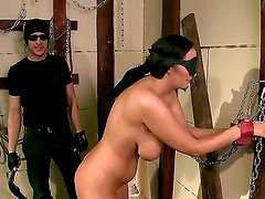 Chained up Margarita gets her big tits clamped and