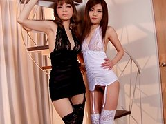 Two sizzling babes Nao and Yuria are playing with themselves teasing you