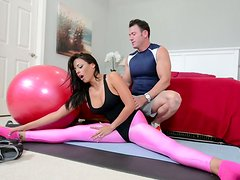 Mind taking brunette Luna Star seduces coach with cuddly body