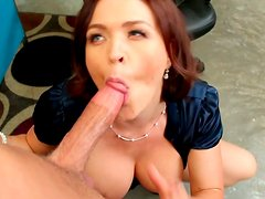 Slutty bitch Krissy Lynn is sucking hard dick in the office