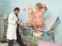 Lewd granny Alena pisses with her tasty shaved pussy