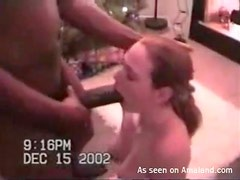 Wife sucks huge black cock on Christmas