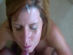 Blonde mother I'd like to fuck gagging on a ding-dong