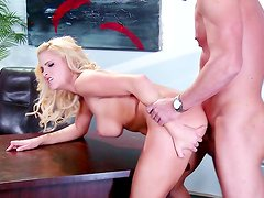 Busty blondie gets nailed deep