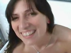 Brunette slut poked and facialized