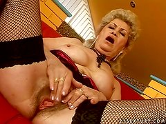 Filthy granny is so fucking crazy to ride that huge dick