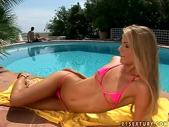 Cayenne Klein sucks and rides a big dick on the poolside