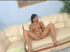 Attractive exotic teen Kyra Black with nice hooters and long