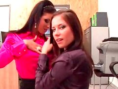 Office girls model their gorgeous satin blouses
