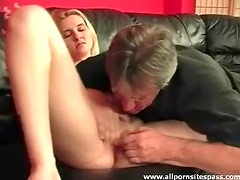 Petite blonde babe getting her juicy pussy eaten out