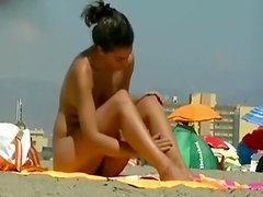 Hairy Latina exposed on the beach