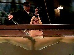 Submissive Ariel X gets tied up and toyed in an aquarium